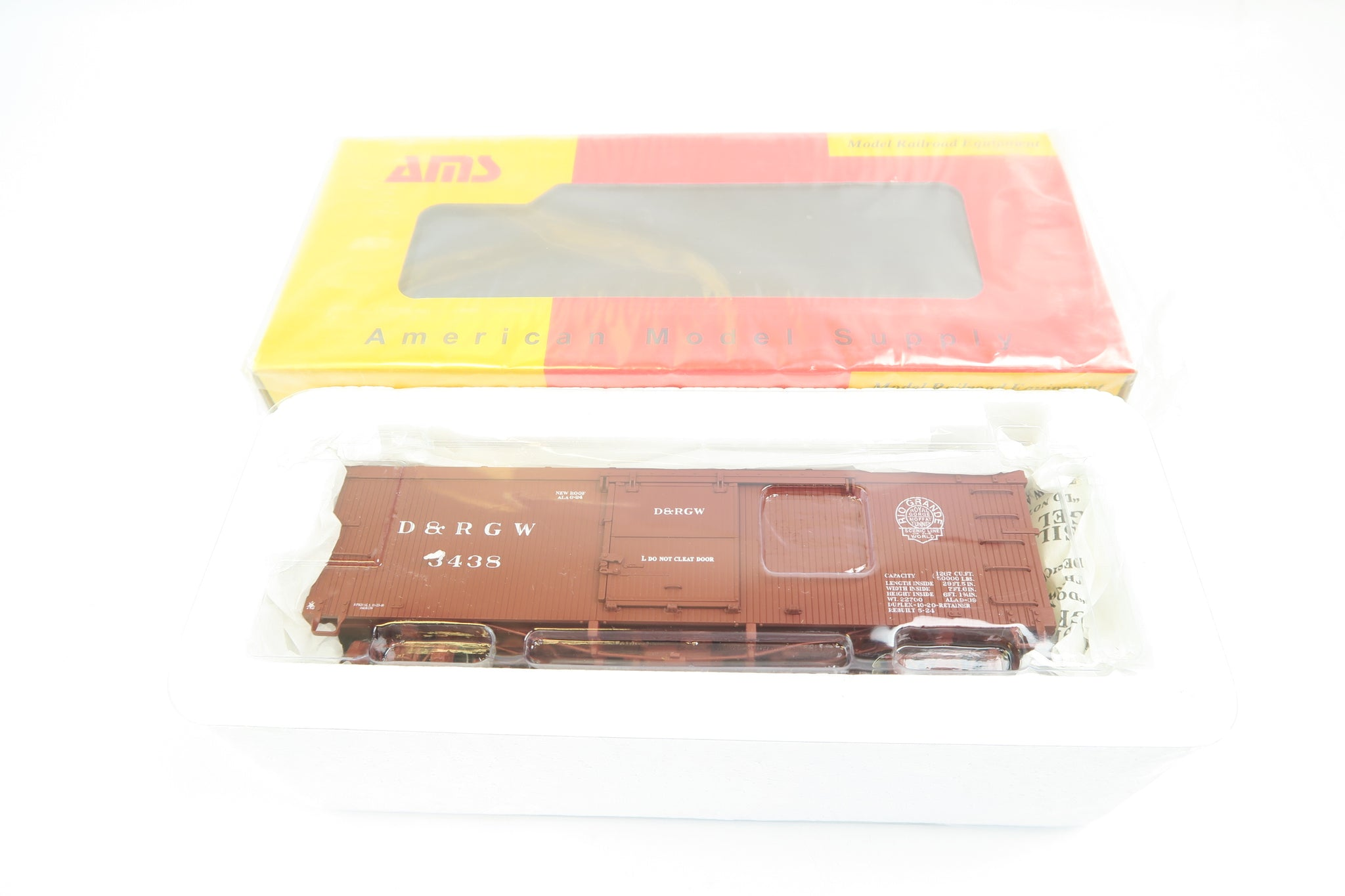 AMS On3 Scale D&RGW BOX CAR 3000 Series '3438'