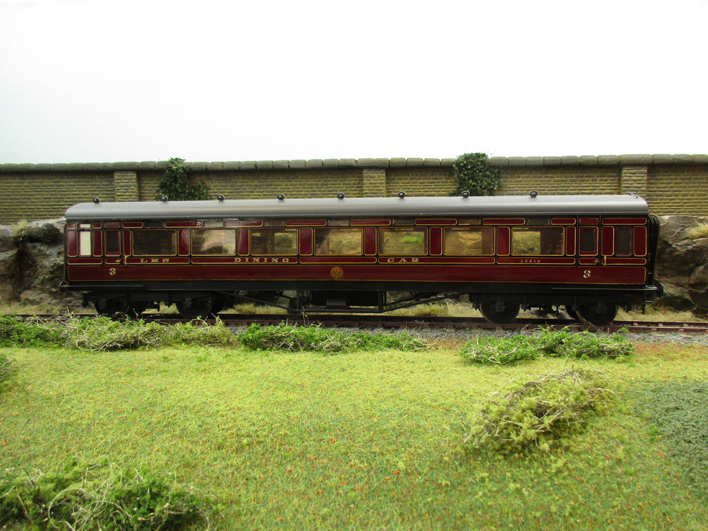 7mm Finescale O Gauge Kit Built LMS Lined Maroon 3rd Class Dining Car Corridor Coach '14414'