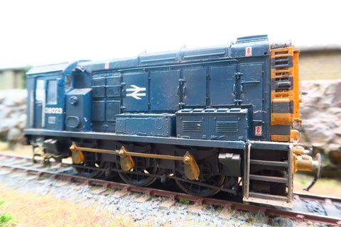 7mm Finescale O Gauge Kit Built BR Blue 08 Shunter '08023' Weathered with Wasp Stripes