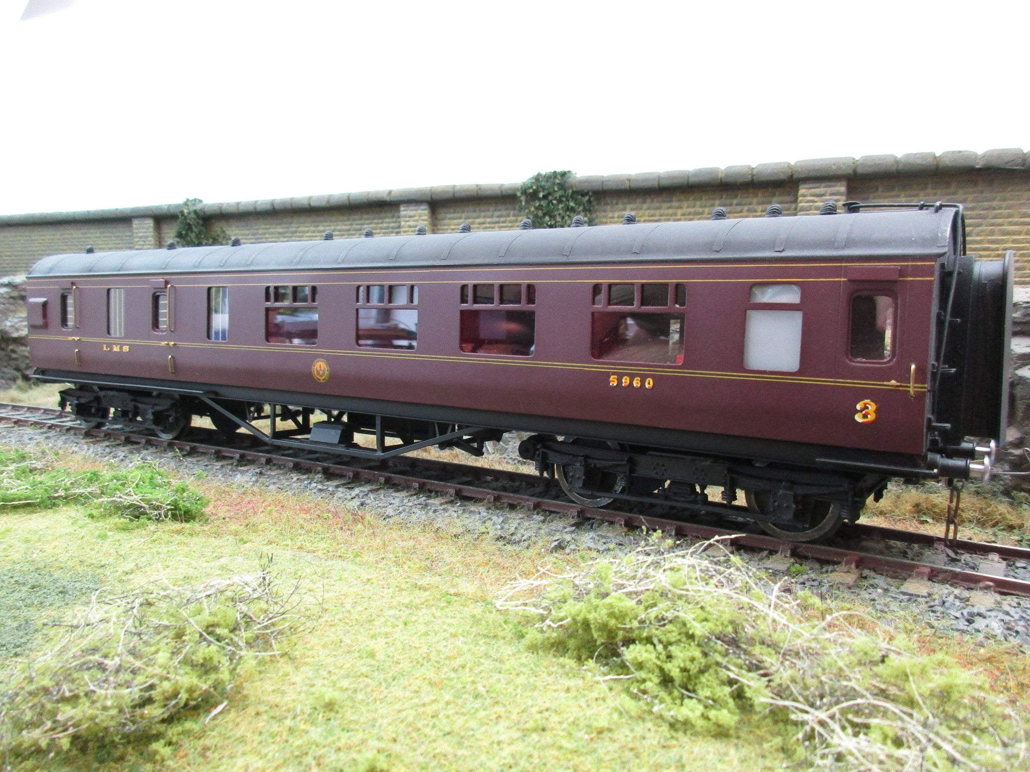Precision Scale Models 7mm O Gauge Kit Built LMS 57' Stanier Maroon 3rd/Brake Coach '5960'