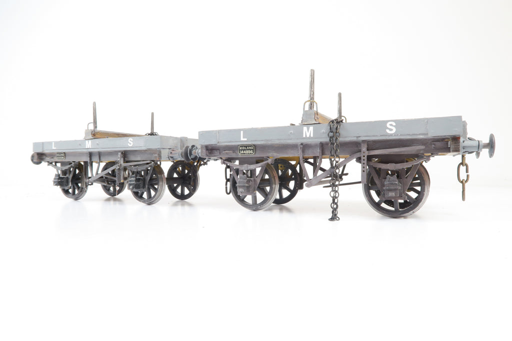 Gauge 1 10mm Kit Built LMS Pair of Bolster Wagons '11114' & '144896'