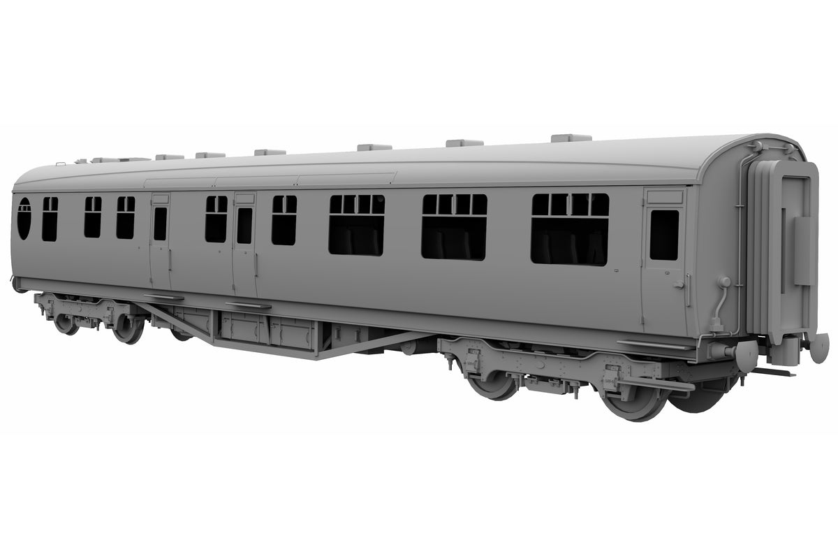 Darstaed D24-2-05RA Finescale O Gauge LNER/BR Thompson Mainline RF (Restaurant First with Kitchen) Coach, Crimson & Cream 'E1600E' (Pre-order)