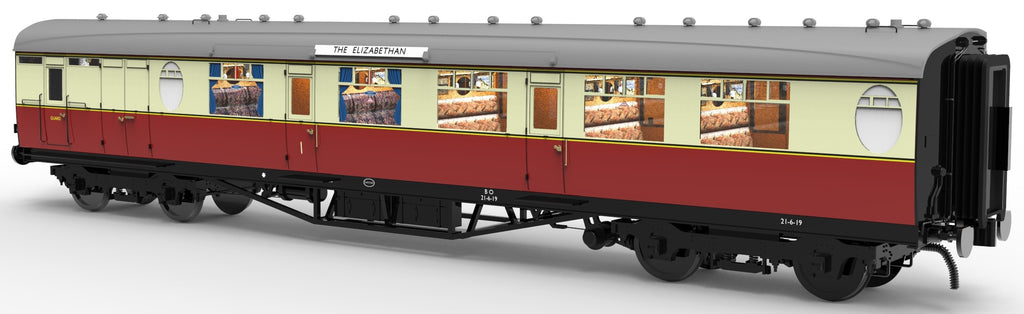 PRE-ORDER Darstaed 7mm Finescale O Gauge 'The Elizabethan' Set of 11 Crimson & Cream Thompson Coaches