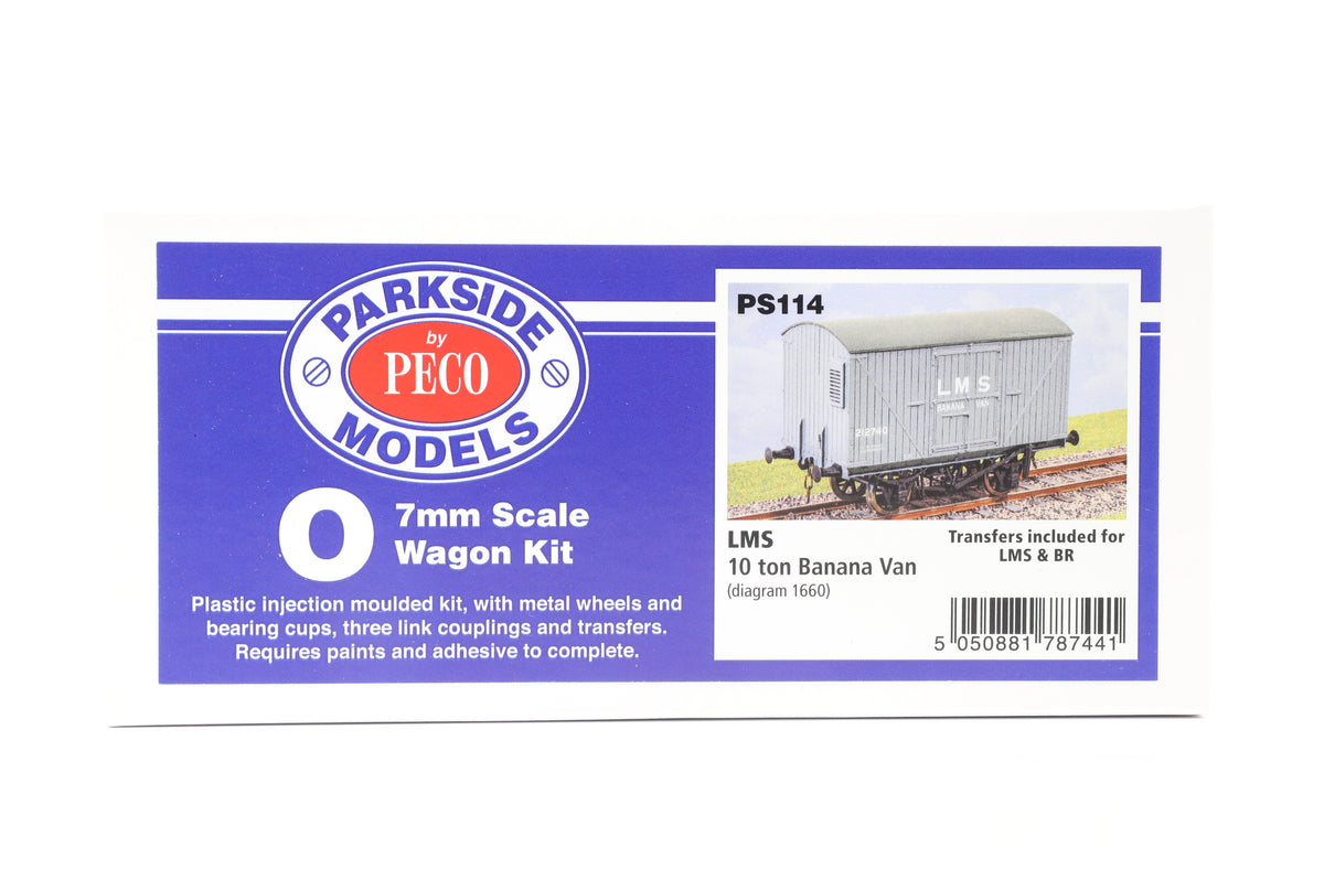 Parkside Dundas O Gauge PS114 LMS 10 ton Banana Van Wagon Kit w/Wheels