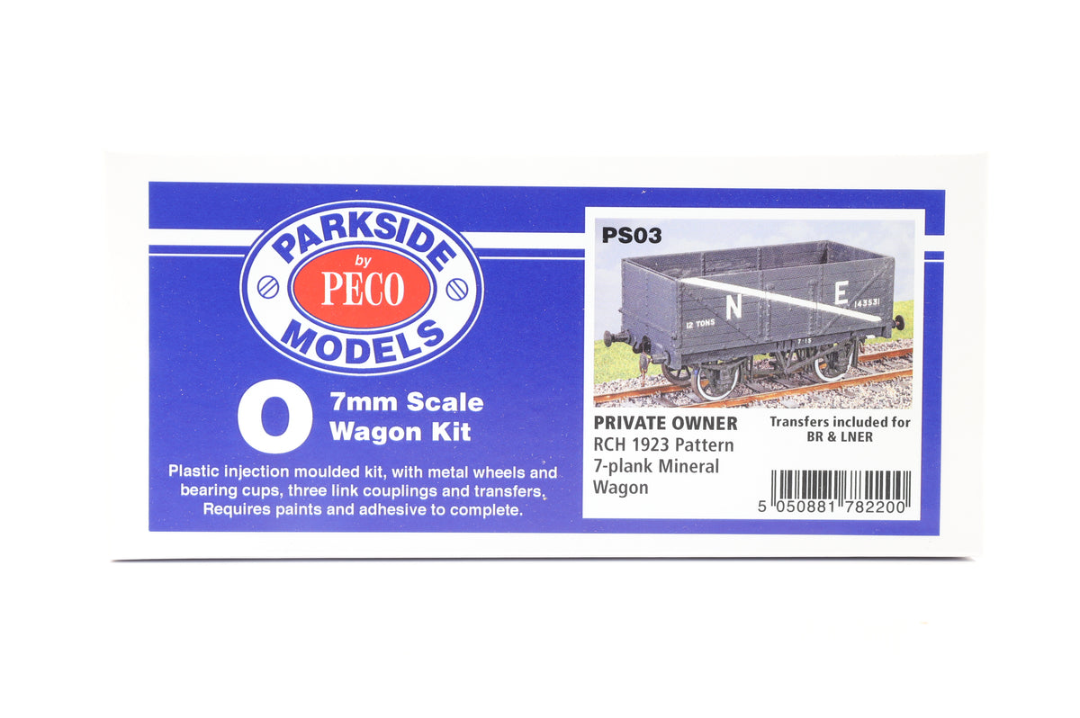 Parkside Dundas O Gauge PS03 Private Owner RCH 1923 Pattern 7-Plank Mineral Wagon Kit w/Wheels