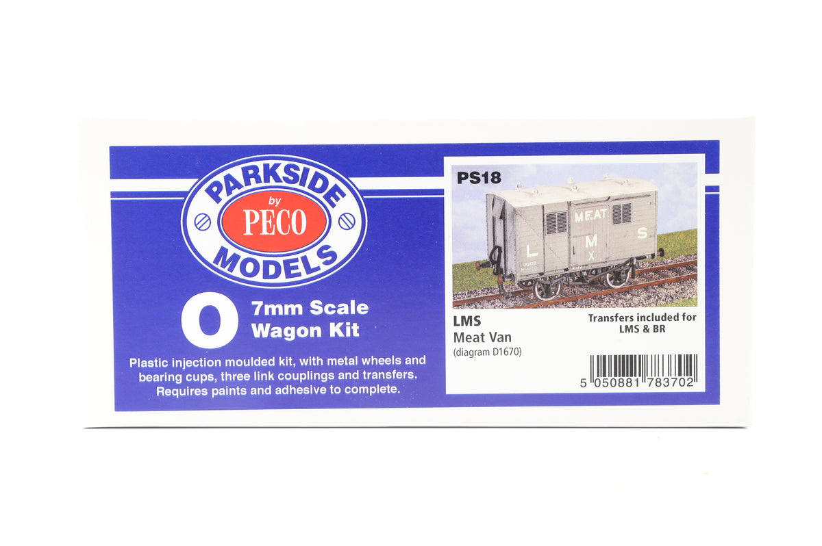 Parkside Dundas O Gauge PS18 LMS Meat Van Kit w/Wheels