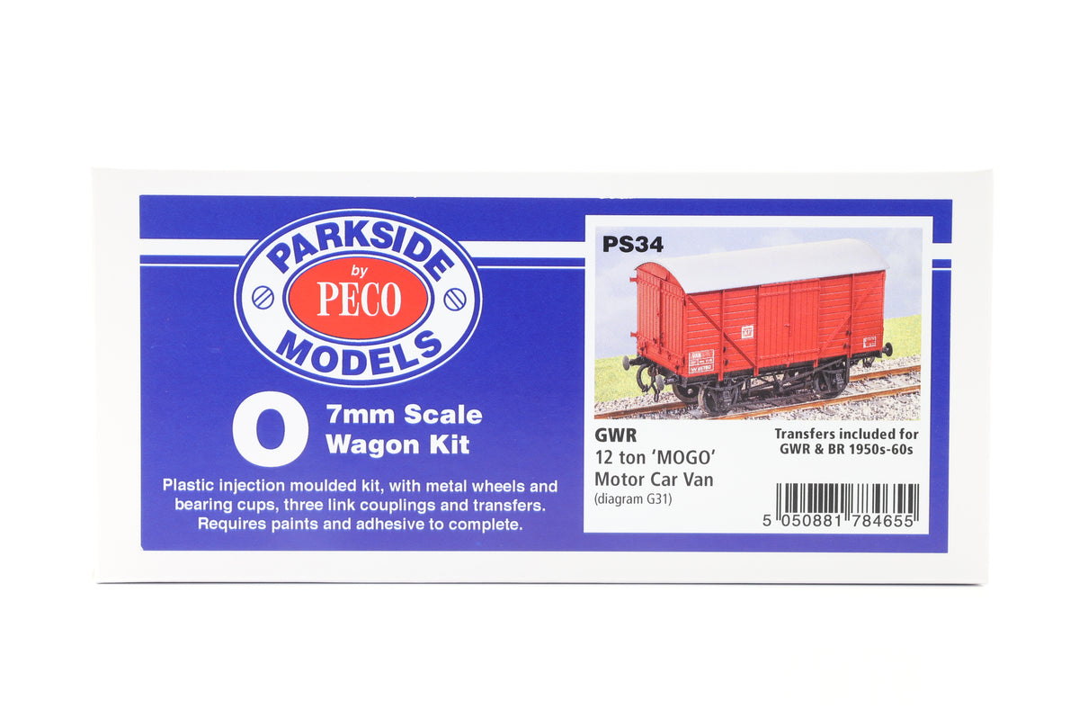 Parkside Dundas O Gauge PS34 GWR 12 Ton 'MOGO' Motor Car Van Kit w/Wheels