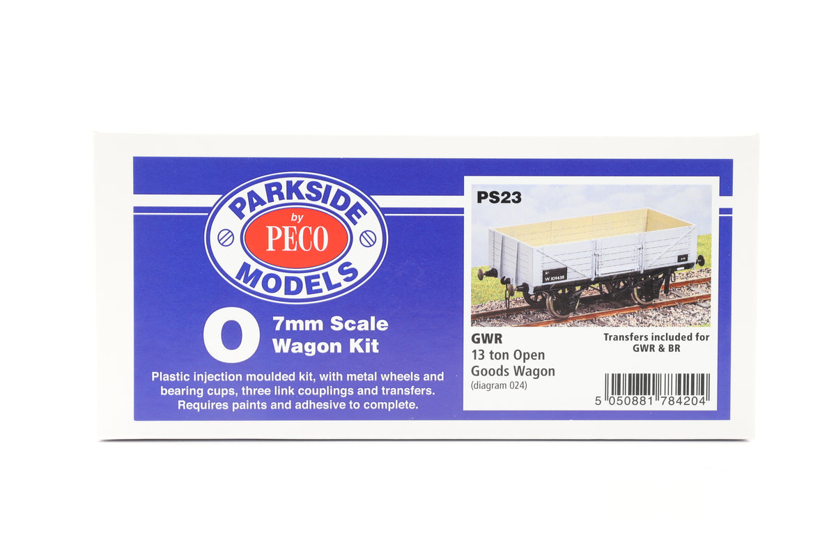 Parkside Dundas O Gauge PS23 GWR 13 Ton Open Goods Wagon Kit w/Wheels