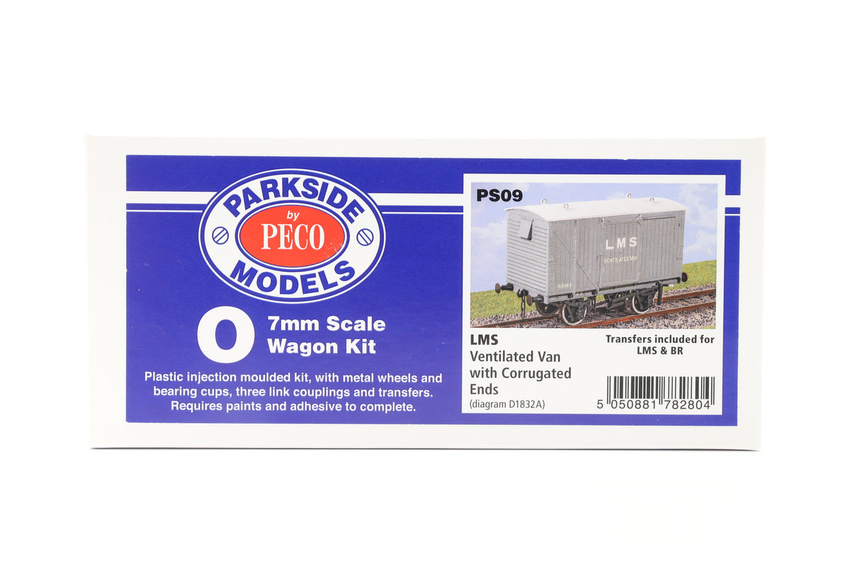 Parkside Dundas O Gauge PS09 LMS Ventilated Van with Corrugated Ends Wagon Kit w/Wheels