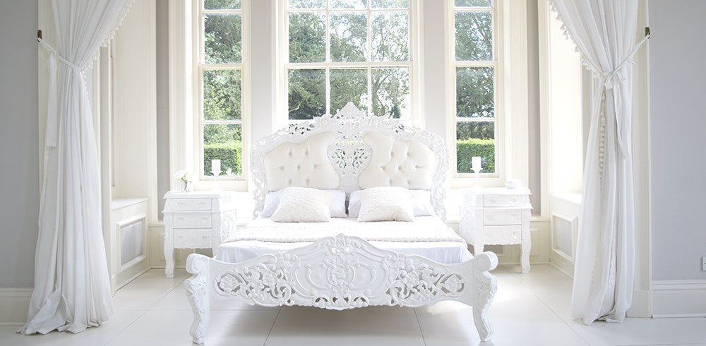 Rococo Bed in white velvet. French rococo furniture  French bedroom furniture  Shabby chic
