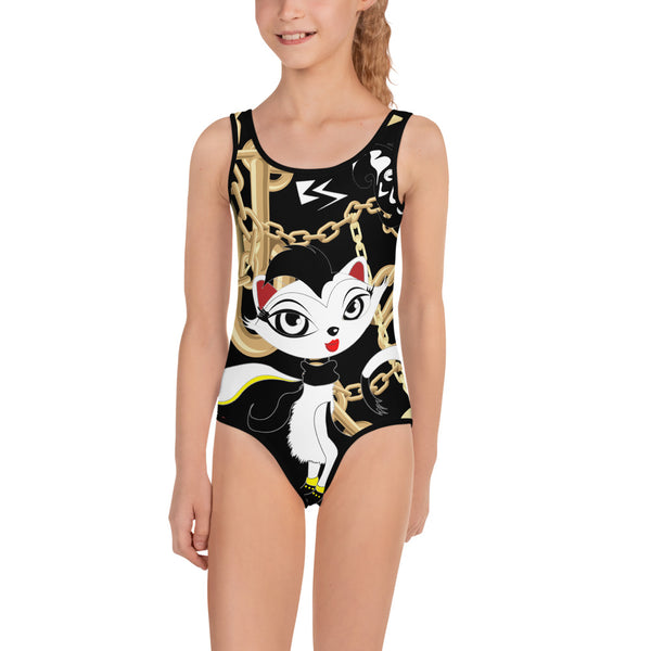 Belle Sauvage Cat All-Over Print Kids Swimsuit