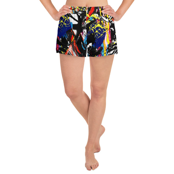 ART Splash All-Over Print Women's Athletic Short Shorts
