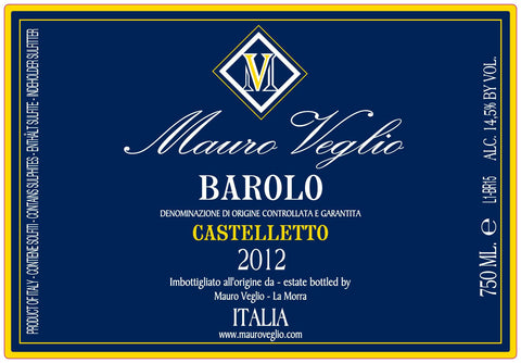Mauro Veglio Barolo Castelletto 2012 - New!