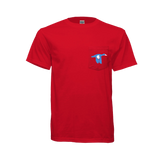 BLUE WING Two Tone Logo Pocket Tee- RED