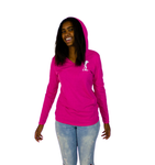 Land Paddle Life Long Sleeve Hoodie Fuchsia Frost - Women