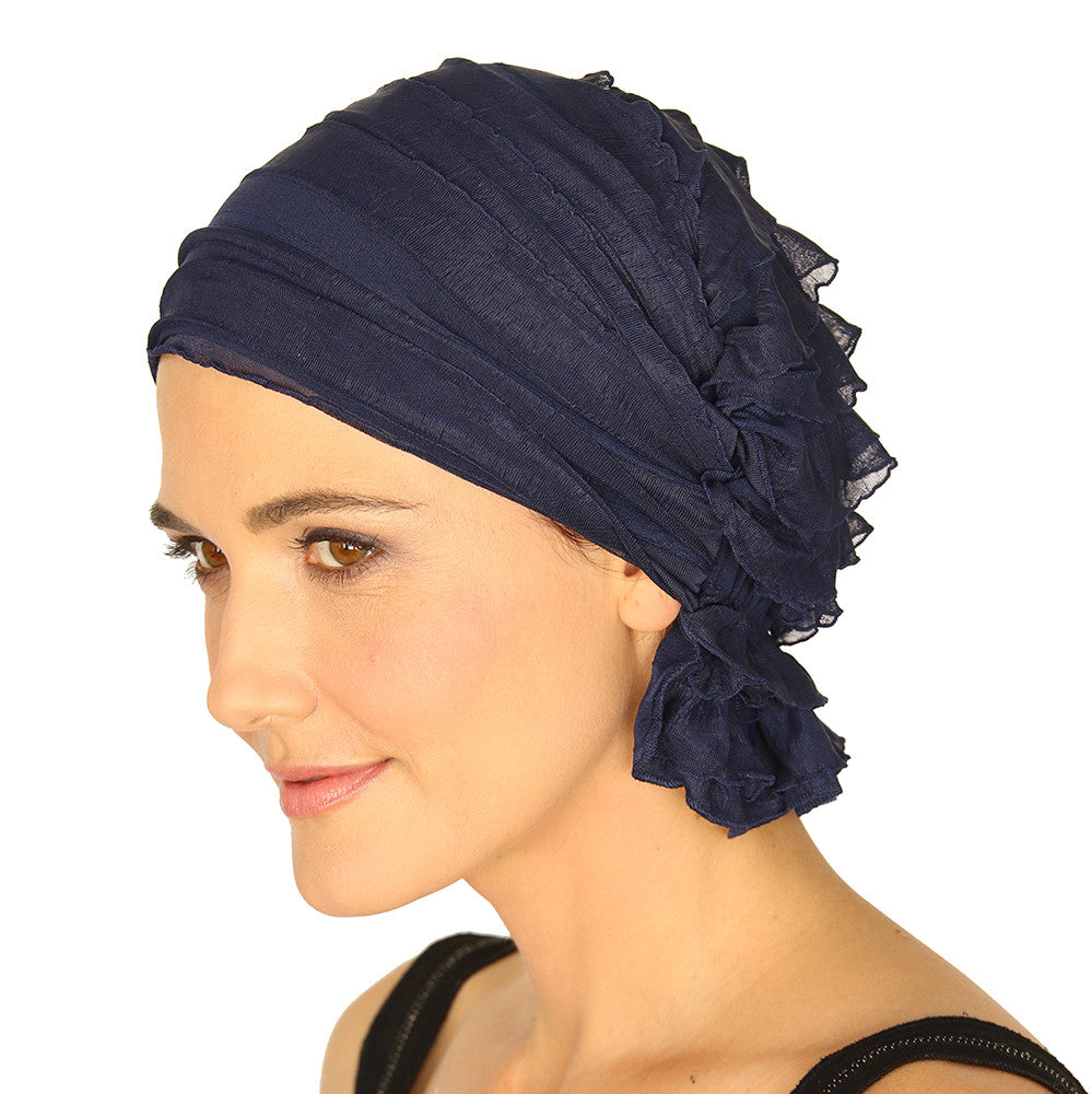 BETTY CHEMO BEANIE - Navy Blue Ruffle