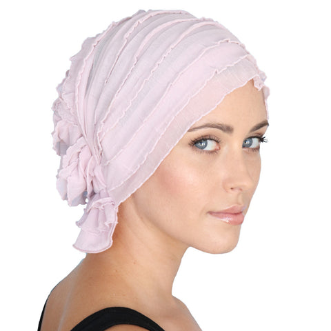 DONNA CHEMO BEANIE - Pale Pink Ruffle