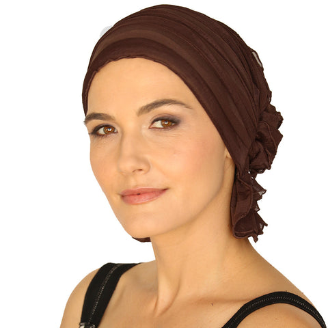 JANICE CHEMO BEANIE - Chocolate Brown Ruffle