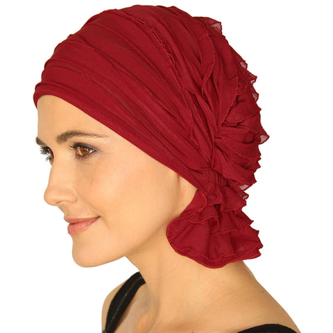 NANCY CHEMO BEANIE - Red Ruffle