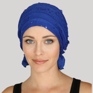 REBA CHEMO BEANIE - Royal Blue Sequin Ruffle