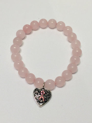 Rose Pink Quartz Breast Cancer Awareness Bracelet with Charm