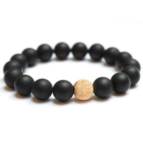 Matte Onyx Bracelet with Gold-filled Stardust Bead