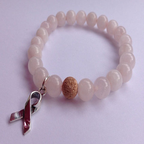 Rose Pink Quartz Breast Cancer Awareness Bracelet