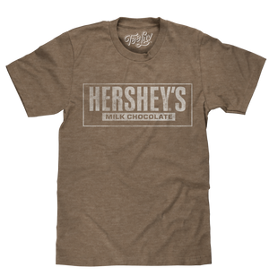 Soft brown heather men's chocolate candy shirt featuring a distressed graphic print of the Hershey's Milk Chocolate logo.