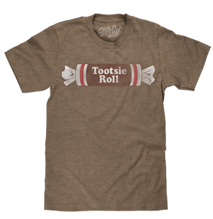 Retro 70s inspired graphic tee featuring the Tootsie Roll candy logo distressed and printed on a soft, brown heather men's shirt.