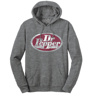 Dr Pepper Silver Logo Pullover Hooded Sweatshirt - Gray