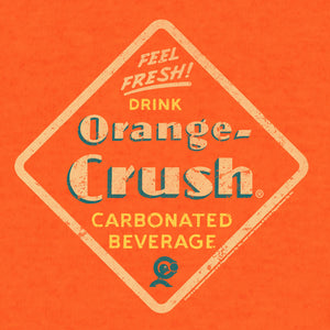 "Vintage 1940s Drink Orange Crush logo and Crushy mascot with ""Feel Fresh"" and ""Carbonated Beverage"" text."