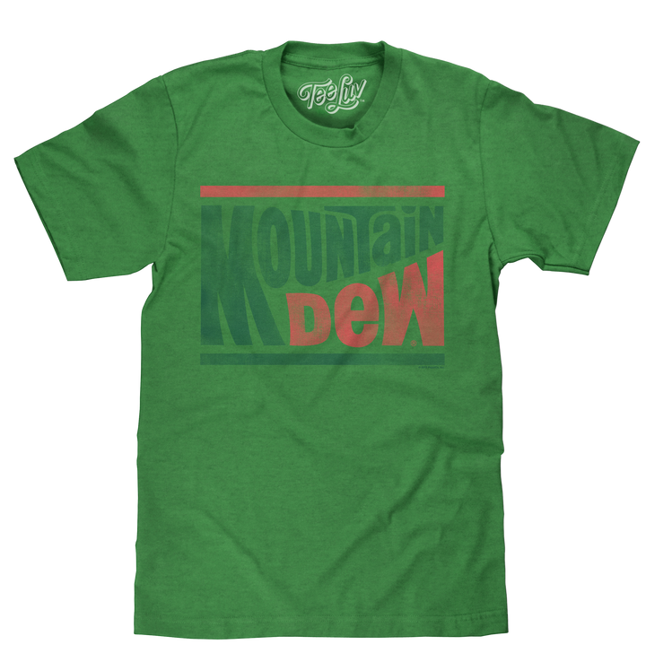 Licensed Kelly green heather men's Mtn Dew t-shirt featuring the distressed 70s Mountain Dew wave soda logo.