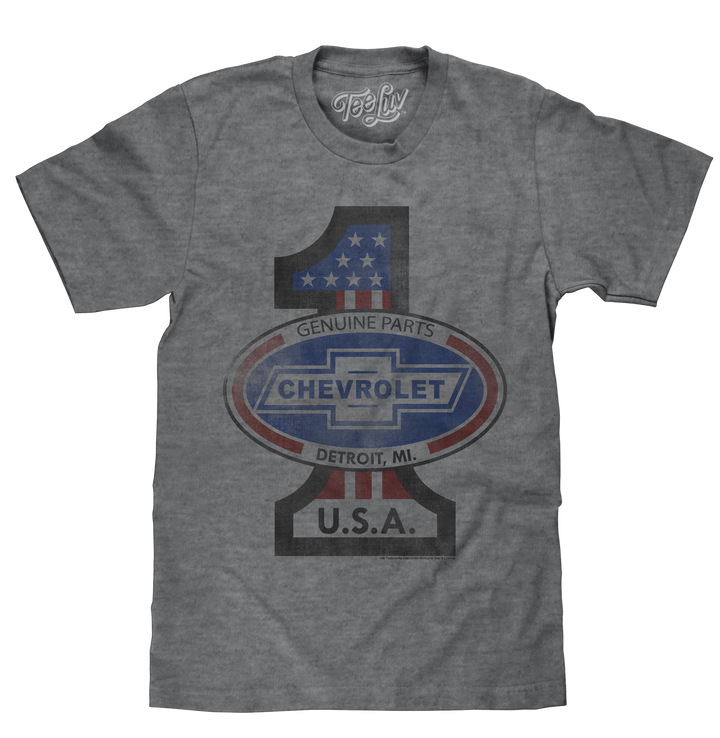 Graphite grey shirt featuring a distressed graphic print of the Chevrolet Bowtie oval logo on a patriotic #1 USA background.