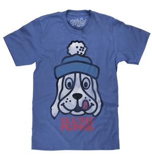 Slush Puppie logo shirt featuring the iconic cartoon dog mascot printed in a distressed style on a soft, blue heather men's shirt.