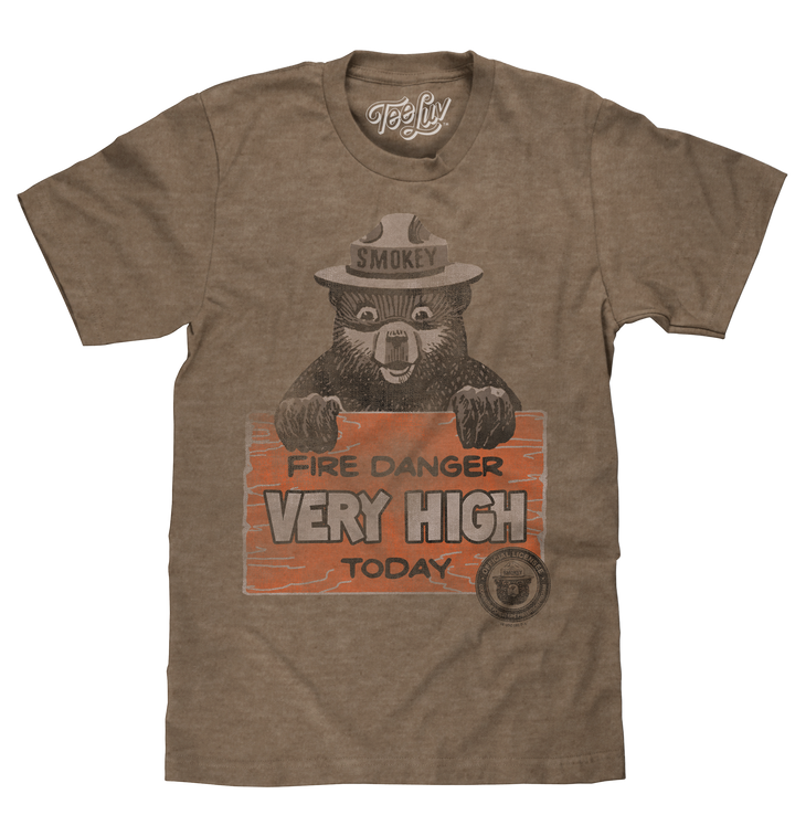 Distressed graphic of Smokey Bear wearing his famous campaign hat holding a 'Fire Danger Very High Today' sign printed on a brown heather tee.