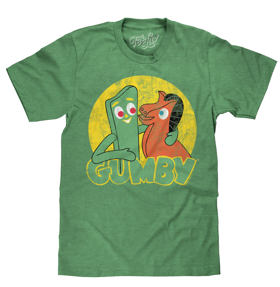Soft green men's tee shirt featuring a distressed print of cartoon characters Gumby and Pokey.