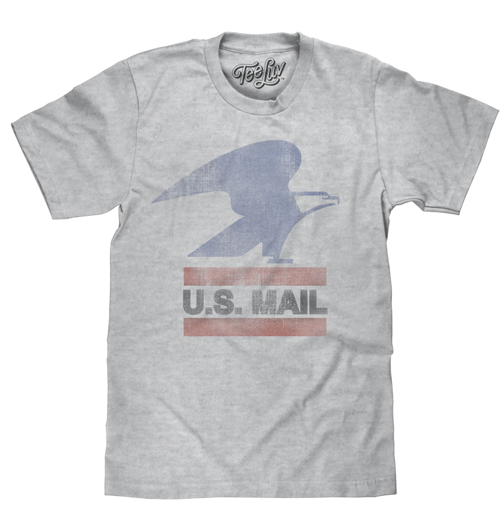 United States Postal Service standing eagle logo and 'U.S. Mail' text distressed and printed on a poly-cotton heather gray tee.