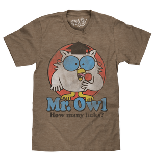 Brown retro candy tee shirt featuring a distressed print of the 1970s Tootsie Roll Pop mascot Mr Owl and 'How Many Licks?' text.
