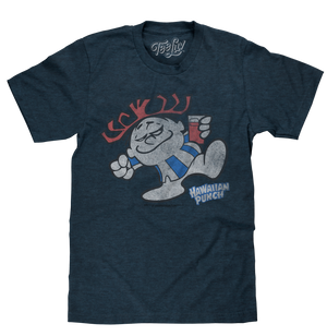 Distressed Punchy cartoon mascot holding a glass of red Hawaiian Punch printed on a poly-cotton navy blue heather tee shirt.