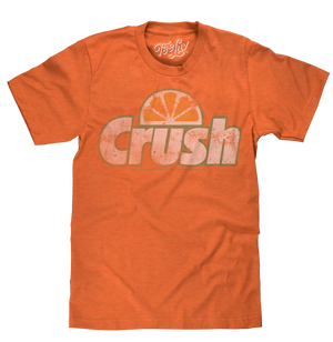 Licensed Orange Crush soda logo distressed and printed on a soft, poly-cotton orange heather men's tee shirt.