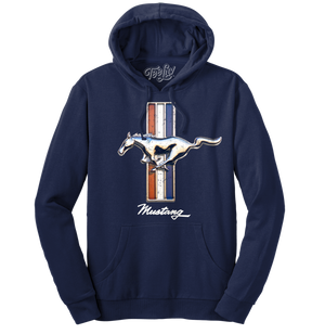 Ford Mustang Pullover Hooded Sweatshirt - Navy