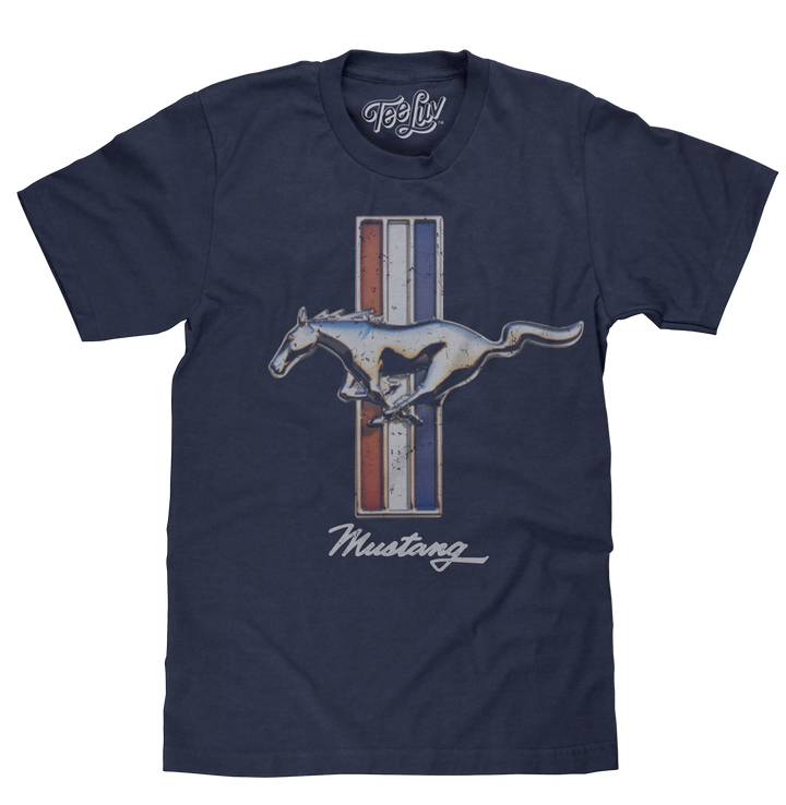 Distressed Ford Mustang horse emblem on a red, white and blue background printed on navy blue heather tee.