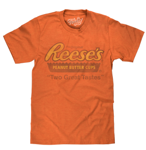 Reese's Peanut Butter Cup logo and 'Two Great Tastes' text printed in a distressed vintage style on a soft, orange heather tee.