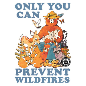 Smokey Bear Only You Can Prevent Wildfires Ringer T-Shirt - White and Black