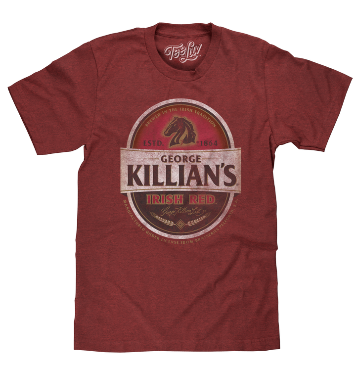 Officially licensed George Kilian's Irish Red beer logo distressed and printed on a soft brick black heather men's shirt.