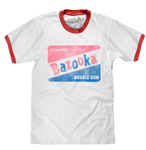 Topps Bazooka Bubble Gum Ringer T-Shirt- Red and White
