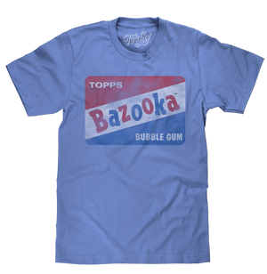 Light blue heather candy tee shirt featuring the red, white and blue Topps Bazooka Bubble Gum in a distressed, vintage style.