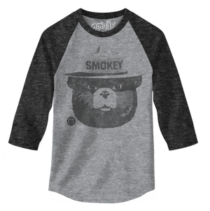 Smokey Bear 3/4 Sleeve Raglan T-Shirt - Gray and Black