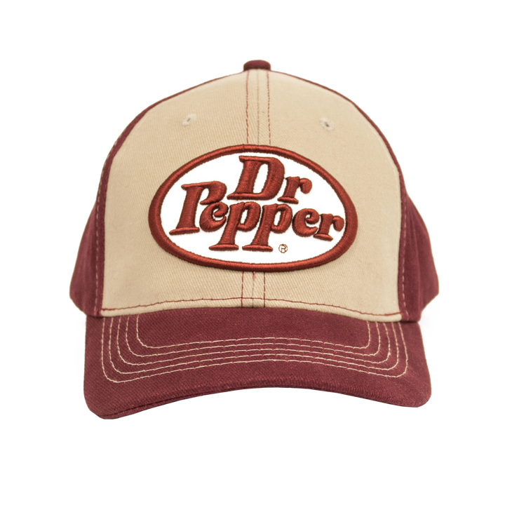 Dr Pepper Oval Logo Hat - Tan and Red