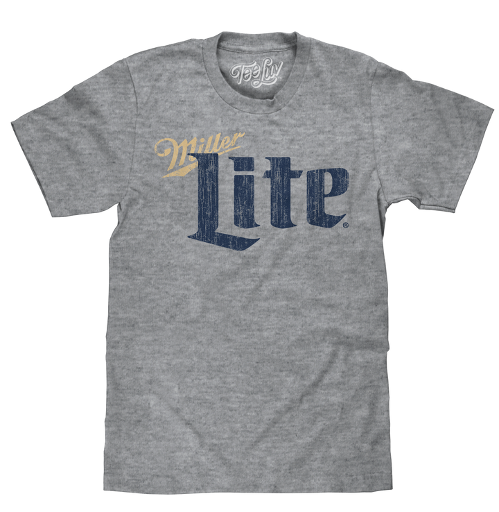 Vintage distressed style graphic of the distressed Miller Lite light beer logo printed on graphite gray snow heather tee.